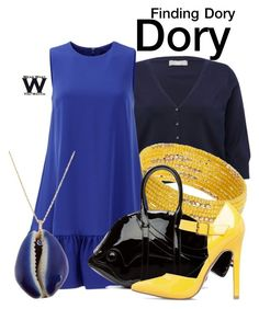 """""""Finding Dory"""" by wearwhatyouwatch ❤ liked on Polyvore featuring M&Co, Dorothy Perkins, Cynthia Rowley, Thom Browne, ShoeDazzle, Aurélie Bidermann, disney, wearwhatyouwatch, film and plus size clothing"""