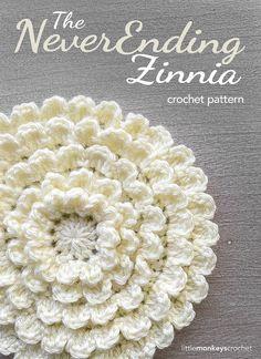 Crochet Flowers Pattern Crochet Flower Pattern PDF (The Neverending Zinnia Crochet Pattern by Little Monkeys Crochet) flower - Crochet Puff Flower, Bag Crochet, All Free Crochet, Love Crochet, Crochet Motif, Beautiful Crochet, Crochet Crafts, Crochet Flowers, Crochet Stitches