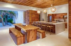 Casa Xixim is an amazing house in Mexican resort of Tulum Jungle. Specht Architects created this extraordinary architecture design project Home, Kitchen Design, House Design, Sweet Home, Island With Seating, Mexican Villa, New Homes, Eco Friendly House, Interior Design