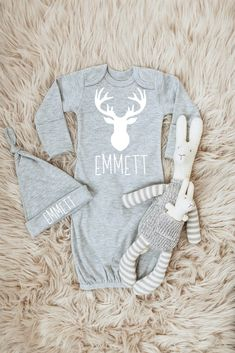Baby Boy Coming Home Outfit Personalized Newborn Boy Clothes Deer Baby Boy Clothes Baby Boy Gift Boy Take Home Outfit Baby Hat Boy Antlers Newborn Boy Clothes, Newborn Girl Outfits, Cute Baby Girl Outfits, Baby Girl Newborn, Baby Baby, Baby Boy Gowns, Baby Boy Hats, Baby Boy Blankets, Take Home Outfit