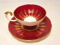 Aynsley Footed Bone China Tea Cup & Saucer Maroon Gold 1930s by catladycollectibles on Etsy