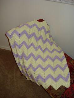 Purple & Yellow Chevron Baby Blanket. $20.00, via Etsy.