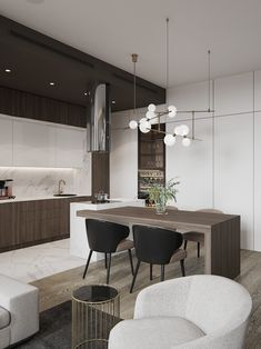 Flat on Pechatnikov on Behance Kitchen Room Design, Modern Kitchen Design, Living Room Kitchen, Home Decor Kitchen, Kitchen Furniture, Kitchen Interior, New Kitchen, Home Interior Design, Home Kitchens
