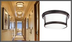 Flush Mount Lights Create a Streamlined Look in Hall - LIKE these for the hallways!