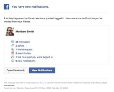 Notification and Activity Update Email from Facebook