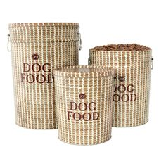 """Replace+standard+plastic+pet+food+bins+with+our+stylish+Sweetgrass+Basket+Food+Storage+Canister.+Made+of+sturdy+recycled+steel,+our+designer+dog+food+storage+features+lids+to+keep+dog+food+fresh.Harry+Barker+will+donate+a+portion+of+the+profits+from+the+Sweetgrass+Basket+Collection+to+the+International+African+American+Museum+in+Charleston,+South+Carolina.  Small+Food+Storage+Canister+(3.5+gallons)+9.75""""w+x+11.25""""h,+holds+10+lbs.+of+dry+dog+food  Medium+Food+Storage+Canister+(6.5+gallons..."""