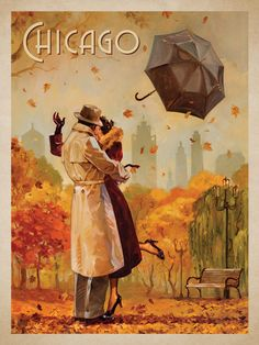 Windy City Kiss - This series of romantic travel art is made from original oil paintings by artist Kai Carpenter. Styled in an Art Deco flair, this adventurous scene is sure to bring a smile and maybe even a smooch to any classic poster art lover!<br />