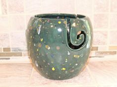 Yarn Bowl, ceramic.  One of a kind Teal speckled glaze.  Perfect gift for the crafter! Measures 7.6 x 7 by GabiLuBoutique on Etsy