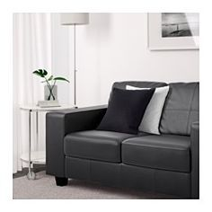"""IKEA - SKOGABY, Loveseat, Glose/Bomstad black, , Soft, dyed-through 3/64"""" thick grain leather that is supple and smooth to the touch.The outer surfaces are covered in a durable coated fabric with the same look and feel as leather.Seat cushions filled with high resilience foam and polyester fiber wadding provides great seating comfort.10-year limited warrranty. Read about the terms in the limited warranty brochure."""