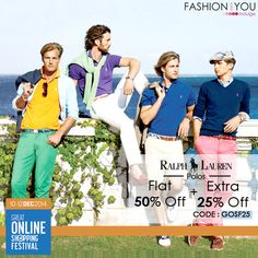 #RalphLauren Polos in solid Hues only at #GOSF. Grab an EXTRA 25% #Off. Go Crazy shopping at http://bit.ly/1yVlaz8