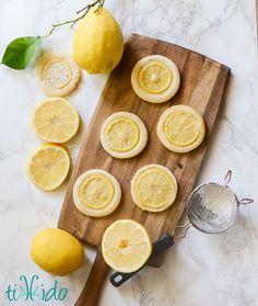 Amazing lemon cookies with very thin slices of REAL lemon topping the sugar cookies, to provide intense lemon flavor. Lemon Desserts, Lemon Recipes, No Bake Desserts, Sweet Recipes, Lemon Cookies, Yummy Cookies, Sugar Cookies, Candied Lemon Slices, Candied Lemons