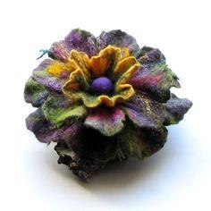 Felt Flower Brooch Green Flower  Felted Brooch by albado on Etsy,