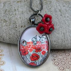 Wizard of OZ Necklace - The POPPY FIELD  -  Dorothy and Vintage Oz Illustratration Necklace With Red Flower Beads