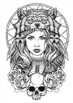 Wolf Headdress - Tattoo Thinks Wolf Tattoos, Native Tattoos, Arm Tattoos, Body Art Tattoos, Sleeve Tattoos, Mädchen Tattoo, Tattoo Drawings, Sketch Tattoo, Art Drawings