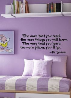 Dr. Seuss Wall DECAL The more that you read ... Quotes and Phrase Vinyl sticker education book biography library home decor lettering saying...