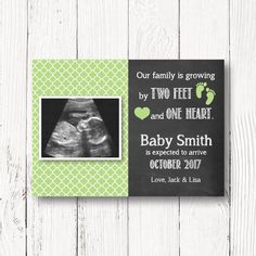 Pregnancy Announcement Card - Pregnancy Reveal - Neutral Light Green Sonogram Card - Growing by Two Feet and One Heart - 5x7 - DIGITAL FILE by EensyAva on Etsy https://www.etsy.com/listing/510339281/pregnancy-announcement-card-pregnancy