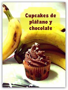 Cupcakes de plátano y chocolate. Receta muy fácil y muy rica!