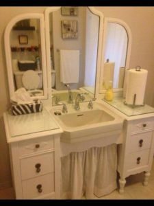 Best Ideas About Dresser To Vanity On Vessel Sink In Style - New Home Design Wallpaper Furniture, Shabby Chic Dresser, Shabby Chic Bathroom Vanity, Vintage Bathrooms, Trendy Bathroom, Chic Bathrooms, Bathroom Vanity, Repurposed Furniture, Bathrooms Remodel