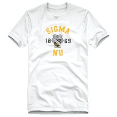 Sigma Nu White Distressed Crest Tee