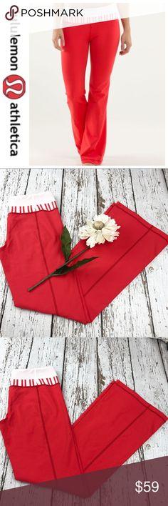 """💕SALE💕 Lululemon Red White Groove Yoga Pants Gorgeous 💕 Lululemon Red White Groove Yoga Pants 32"""" Inseam Like New worn once lululemon athletica Pants"""