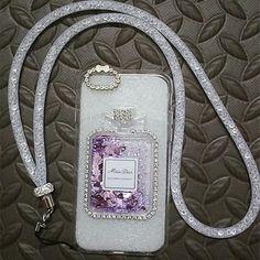 Luxury Rhinestones Back Cover Bling Phone Cases + Crystal Lanyard