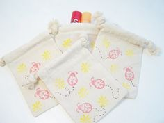 Lady Bug Gift Bag Muslin Bag Birthday Party Favor by WitsEndDesign