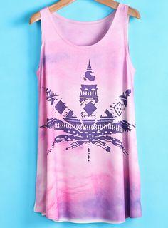 Pink Gradient Maple Leaf Print Vest $MXN246.95