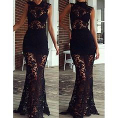 Neck Lace Hollow Out Sleeveless Women's Maxi Dress