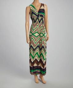 Take+a+look+at+the+Green+Abstract+Stripe+Surplice+Maxi+Dress+on+#zulily+today!