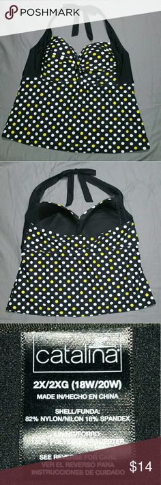 Women's plus size holter swim suit top Women's plus size holter swim suit top, black with yellow and white polka dots. Very flattering swim top, so cute on! Only worn once, breast area is a lil big for me. catalina Swim One Pieces