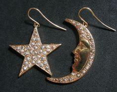 KIRK'S FOLLY Earrings GoldTone rhinestones #Moon & #Star pierced drop Celestial  #KirksFolly #DropDangle