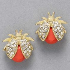 Waspy Beetle Earrings - Coral #jewelry $18
