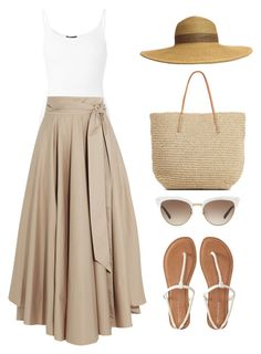A fashion look from July 2016 featuring ribbed tank, ankle length skirt and slip on flats. Cute Casual Outfits, Modest Outfits, Modest Fashion, Chic Outfits, Fashion Outfits, Womens Fashion, Fashion Trends, Spring Summer Fashion, Spring Outfits