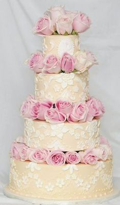 Custom 4-tier wedding cake with gum paste pink roses. Kick Ass Kakes, Phoenix, Arizona. http://kickasskakes.com/