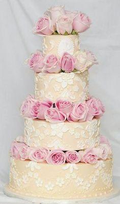 Custom 4-tier wedding cake with gum paste pink roses. Kick Ass Kakes, Phoenix, Arizona. http://kickasskakes.com/