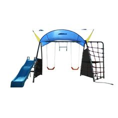 IronKids Challenge 300 Refreshing Mist Swing Set with Rope Climb and Expanded UV Protective Sunshade
