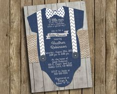 Boy Baby Shower Invitation Navy Blue Gray Onesie Bow Tie Suspenders Burlap Chevron Polkadot Wood Shabby Rustic Printable Custom Digital