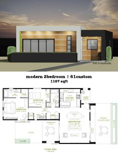 this modern house plan offers two bedrooms two bathrooms a spacious greatroom front courtyard modern front kitchen and covered patio