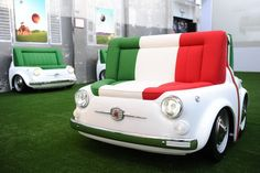 "Fiat 500 Design Collection   My personal favourite, the ""Panorama"" sofa. Look at it! The shape, the car, the colors! It has a steel perimeter frame of the shape of the 500. Available in fabric or leather.  www.fiat500design.com"