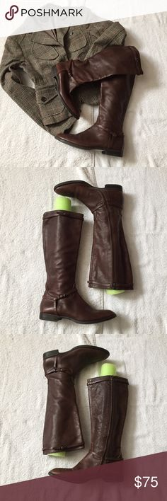 """J. Crew Chocolate Brown Leather Knee High Boots Like New! J. Crew Chocolate Brown Leather Knee High Boots with an Equestrian Flair. They have only been worn once! 100% Leather hat is super soft and supple. Size 7.5 measures: 15"""" tall, 14.5"""" around the calf, just under 1"""" heel, inside zip close. There is no stretch. The green in the pics is a pool noodle used to give the boot shape. 1127/1300/011817 J. Crew Shoes Heeled Boots"""