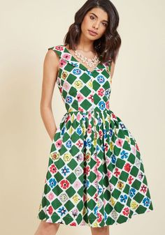 c4cd718f2c Emily and Fin Vintage-Inspired Vim Cotton A-Line Dress in Floral in XL