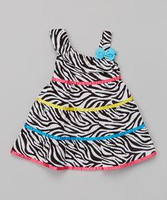 Love this Youngland Black & White Zebra Asymmetrical Dress - Infant by Youngland on #zulily! #zulilyfinds