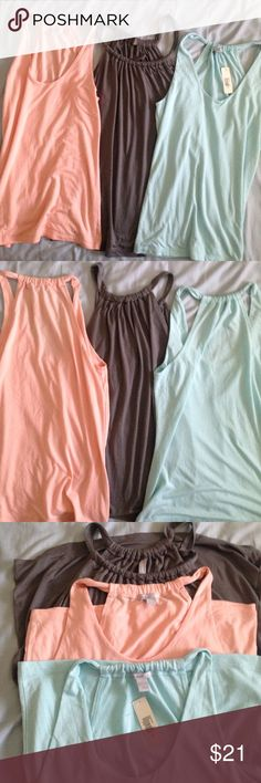 """Lot of 3 Old Navy Tops, both NWT and NWOT, Size M 🎉10% OFF BUNDLES OF 2 OR MORE🎉 Lot of 3 soft, lovely Old Navy tops in pale blue, peachy-pink, and light grey. Never worn. No holes, wear, stains, pulls, or threads. Busts measure 15"""" armpit to armpit laid flat, Length is 24"""". All Size M. Blue is NWT. Pink and Grey both NWOT. Would prefer to sell together, but will accept offers of $8 for each if you don't want all 3. Super soft and light, perfect for summer nights. 😊 Old Navy Tops Tank…"""