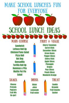 School lunches do not need to be stressful...use this chart to make it easy (and maybe even fun) for everyone! . #school #backtoschool #lunch #lunchtime #backtoschoollunch #sparklesnsprouts