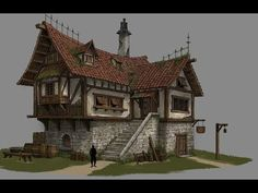 Minecraft Medieval Buildings, Medieval Houses, Minecraft Architecture, Architecture Design, Minecraft House Designs, Minecraft Projects, Fantasy Castle, Fantasy House, Minecraft Kingdom