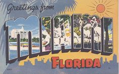 Vintage Florida Postcard - Greetings From Miami  - got a horrible sunburn here in 1968 but turned into a beautiful tan.