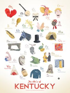 ABC's Of Kentucky Print By Robert Bridges | Kentucky for Kentucky