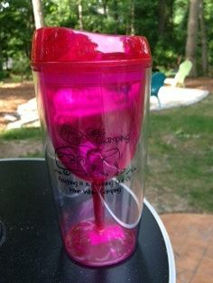 Our insulated wine sip cup is the perfect addition for your next trip to the pool or beach. The acrylic cup is double insulated and has a fun pink wine glass on the inside. It comes with a pink lid to
