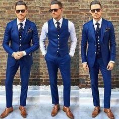 Details about Custom Made Blue Men Wedding Suits Groom Best Man Tuxedos Formal Business Suit - Blue suit men - Royal Blue Mens Suit, Navy Blue Suit, Blue Suits, Navy Blue Tuxedos, Blue Groomsmen Suits, Groomsmen Tuxedos, Groom Suits, Blue Suit Groom, Groom Vest