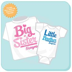 Set of 2, Big Sister and Little Brother Shirt Personalized Infant, Toddler or Youth Tee Shirt or Onesie Pregnancy Announcement (06112012b) by ThingsVerySpecial on Etsy https://www.etsy.com/listing/112431122/set-of-2-big-sister-and-little-brother
